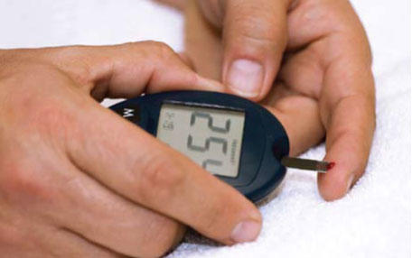 Checking blood sugar with finger check